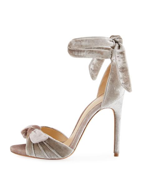 ALEXANDRE BIRMAN Jessica Velvet Ankle-Wrap Sandals XMUQeX