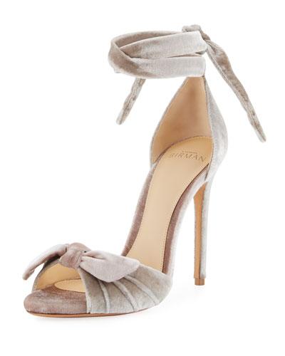 Jessica Ruched Velvet Sandal, Beige