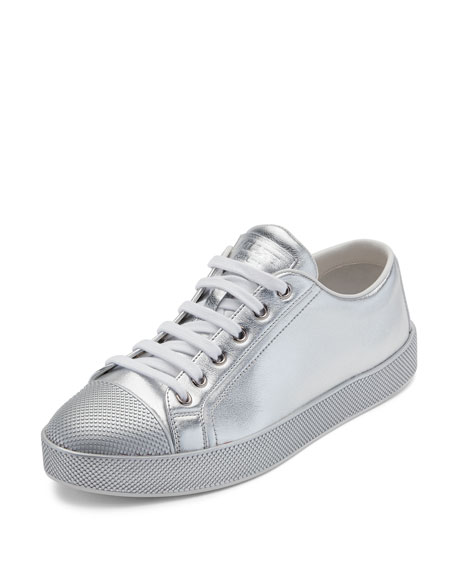 Leather Cap-Toe Low-Top Sneaker, Silver