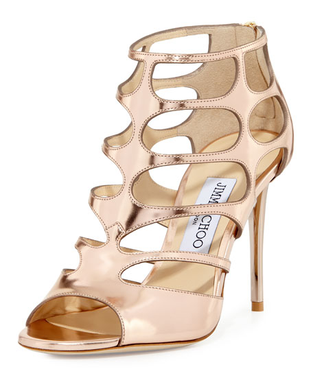 Jimmy Choo Ren Mirrored Caged 100mm Sandal