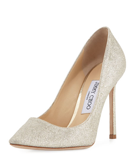 Romy Glittered 100mm Pump, Silver