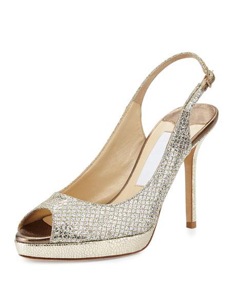 Jimmy Choo Nova Glitter Platform Slingback Sandal, Champagne