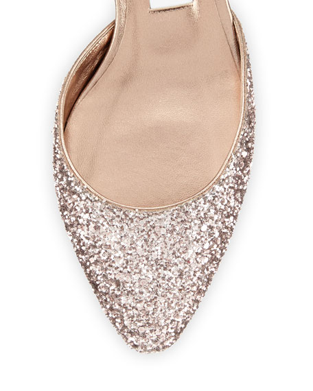 Vicky Glitter Ankle-Wrap Ballerina Flat, Tea Rose