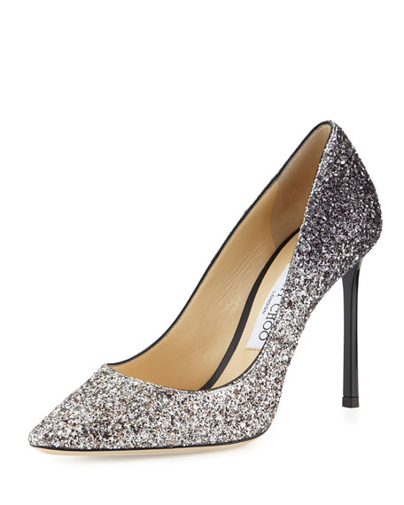 Jimmy Choo Romy Glitter Pointed-Toe 100mm Pump, Light