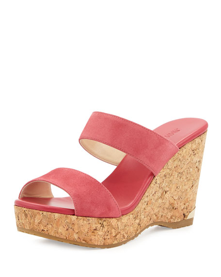 Parker Suede 100mm Wedge Slide Sandal, Dahlia