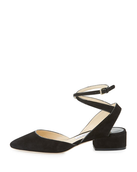 Vicky Suede Ankle-Wrap Ballerina Flat, Black