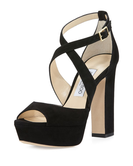 Jimmy Choo April Suede Crisscross 120mm Sandal, Black