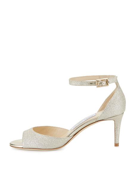 Annie Glitter 65mm Sandal, Platinum Ice