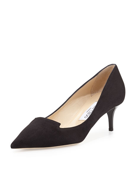 Allure Suede Kitten-Heel Pump