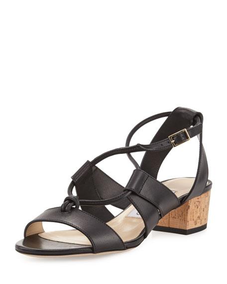 Margo Leather Crisscross 40mm Sandal