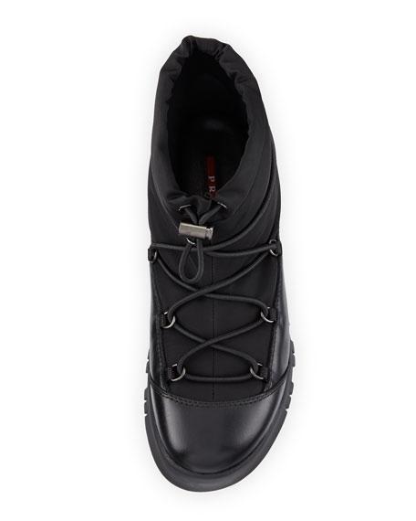 Drawstring Leather Hiking Boot, Black (Nero)