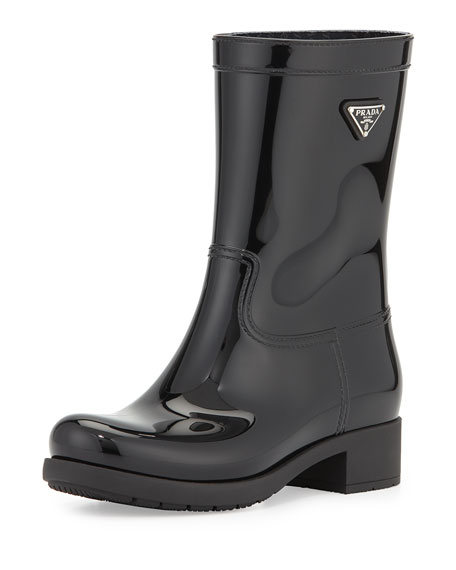 Glossy Logo Ankle Rainboot