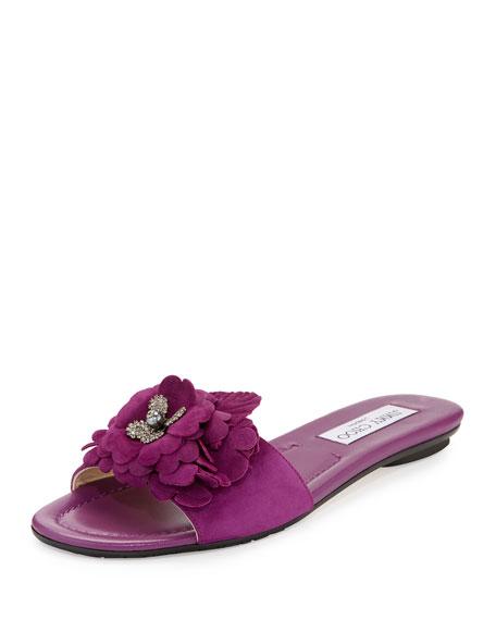 Jimmy Choo Neave Floral Suede Slide Sandal