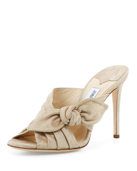 Jimmy Choo Keely Suede Bow 100mm Slide Sandal,