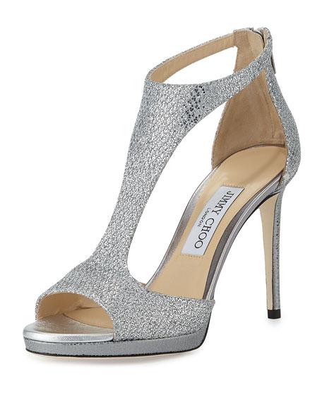 Jimmy Choo Lana Glitter T-Strap 100mm Sandal, Silver
