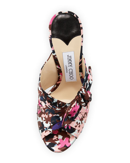 Keely Printed Bow 100mm Slide Sandal