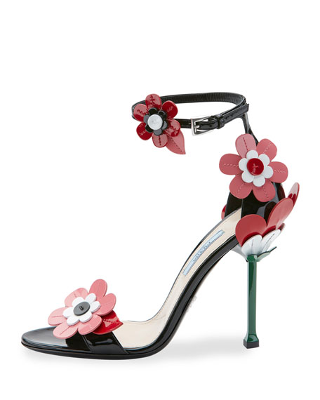 Leather Flower Ankle-Wrap Sandal, Black (Nero)
