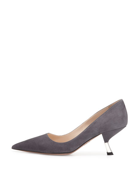 Suede Metal-Heel Pump