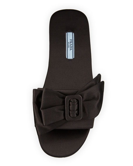 Satin Bow Mule Slide Sandal