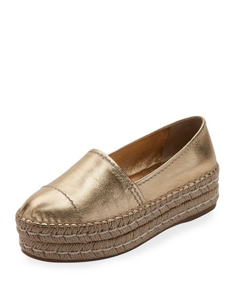 Metallic Leather Platform Espadrille, Platino