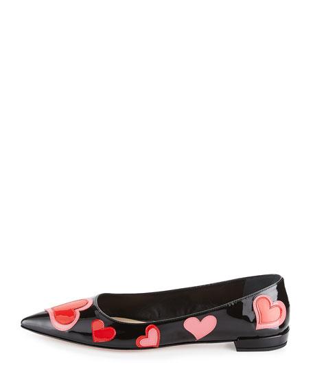 Heart-Appliqué Pointed-Toe Flat, Black (Nero)
