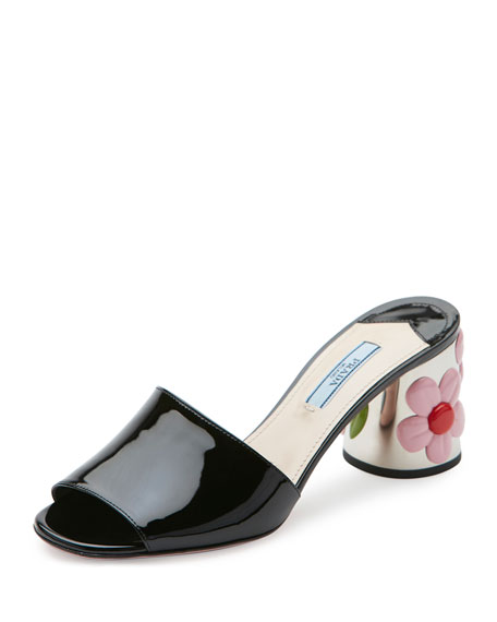 Floral-Heel 65mm Slide Sandal, Black (Nero)