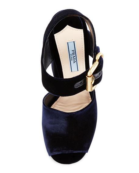 8d9088df54c Prada Velvet Platform Ankle-Wrap Sandal