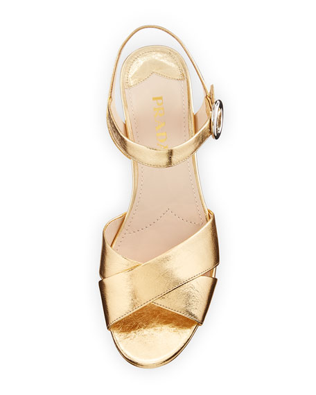 Leather Crisscross Ankle-Wrap 65mm Sandal