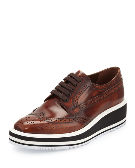 Platform Brogue-Trim Leather Oxford, Tobacco (Tabacco)