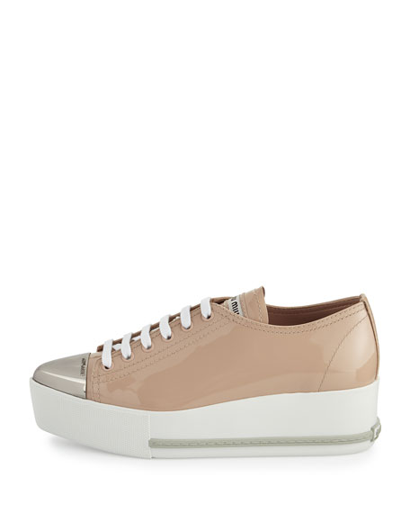 clearance largest supplier Miu Miu Patent Leather Cap-Toe Sneakers with mastercard free shipping pictures EBh2uTTs
