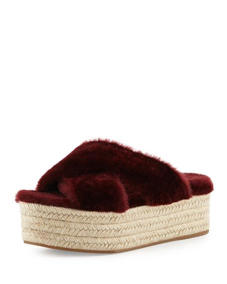 Miu Miu Shearling Crisscross Slide Sandal