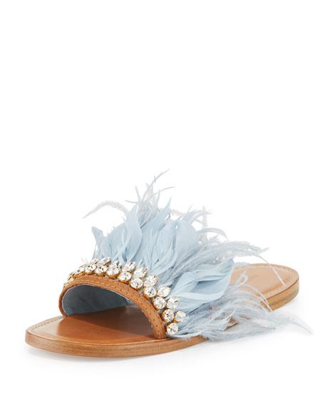 Jeweled Feather Mule Slide Sandal