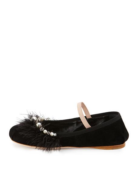 Feather-Embellished Suede Ballerina Flat