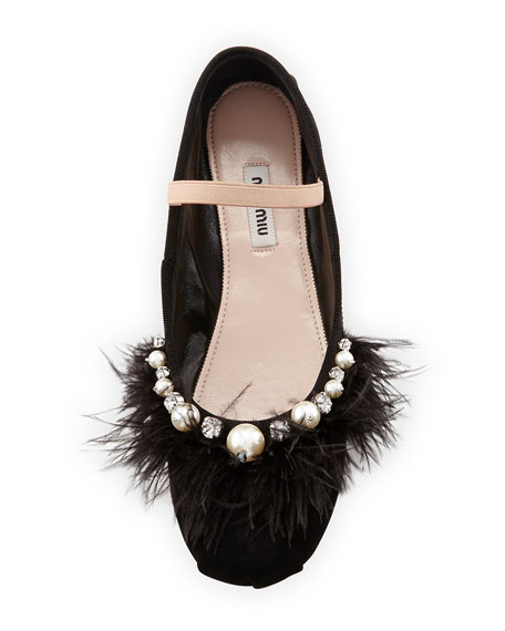 Feather-Embellished Suede Ballerina Flat