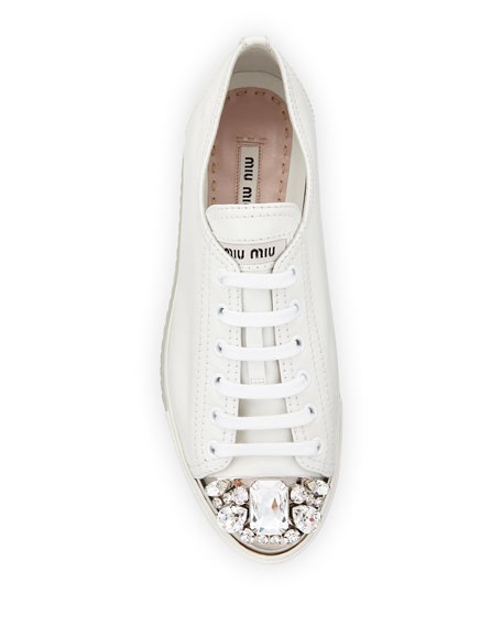 Jeweled Cap-Toe Leather Sneaker, Bianco