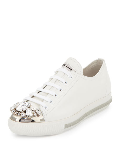 Moncler White Crystal Cap Toe Sneakers 6NX7ZeNUo