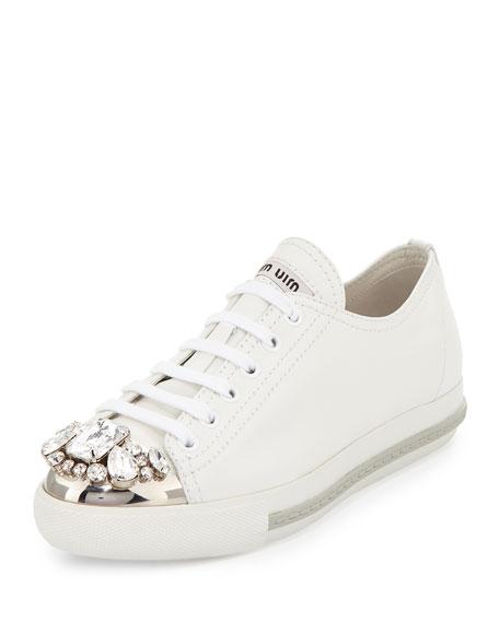 Miu Miu Gold Leather Sneakers js7owP21f