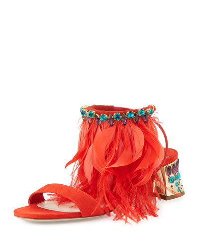 Jeweled Feather-Ankle 45mm Sandal, Lacca
