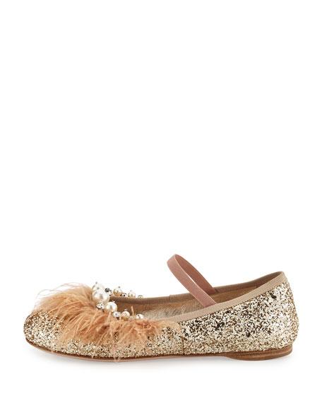 Feather-Trim Glitter Ballerina Flat