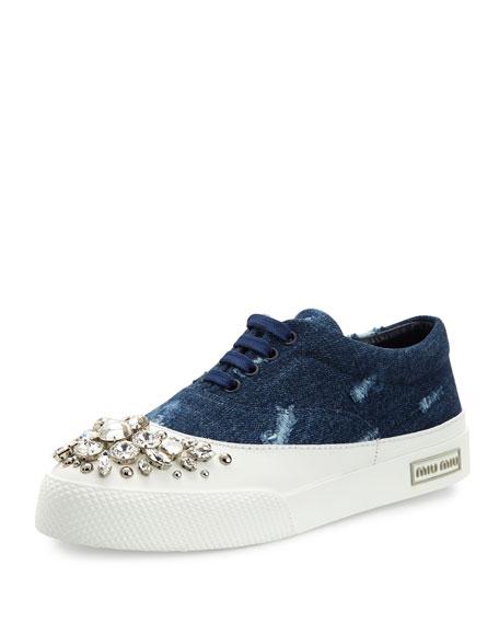 Miu Miu Denim \u0026 Crystal Low-Top Sneaker