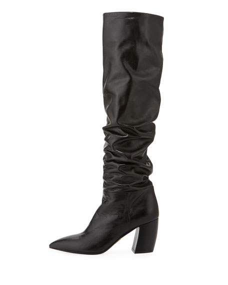 Scrunched Leather Knee Boot
