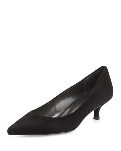 Poco Kitten-Heel Leather Pump, Black