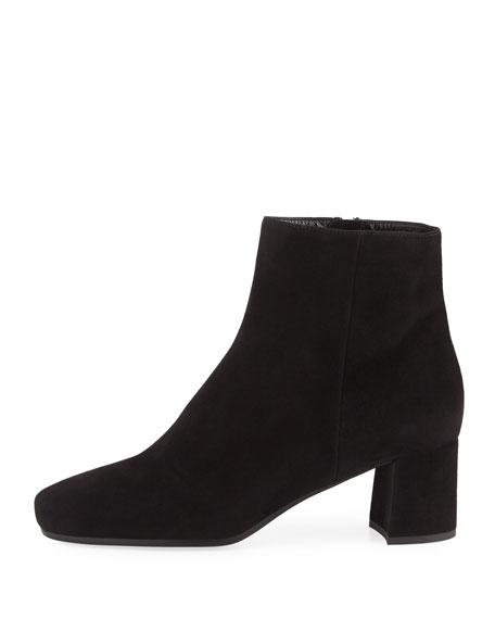 Suede 55mm Block-Heel Boot, Black