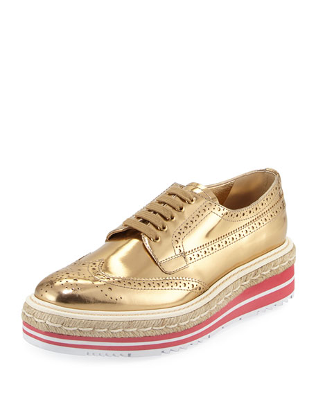 9ba7a92c Metallic Wing-Tip Platform Oxford Sneakers