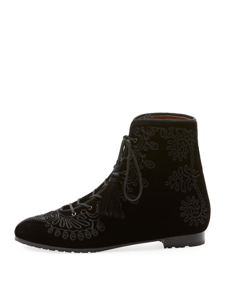 Almaty Embroidered Velvet Lace-Up Booties