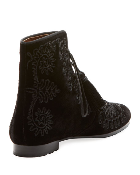 Almaty Embroidered Velvet Lace-Up Bootie