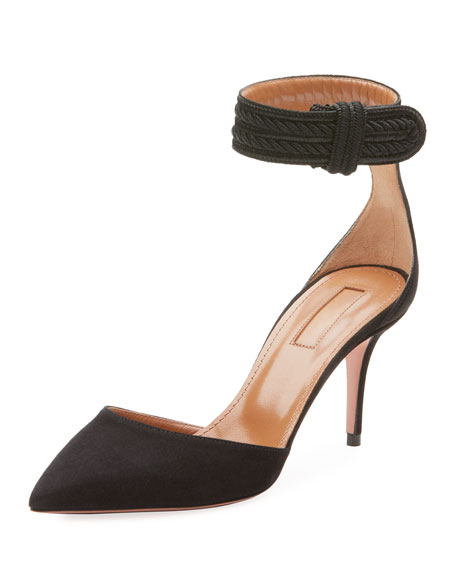 Casablanca 85 multi-strap suede pumps Aquazzura