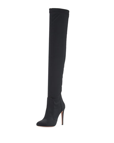 All I Need Stretch-Satin Over-the-Knee Boot