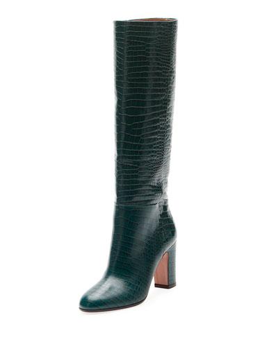 Brera Alligator-Embossed Tall Boot