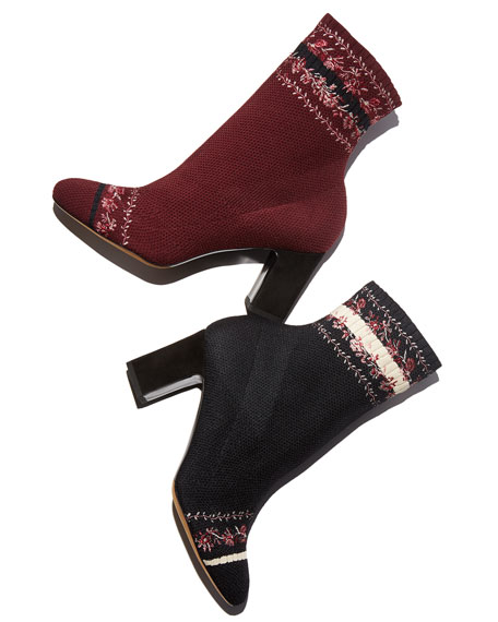 Anna Floral-Embroidered Sock Boots